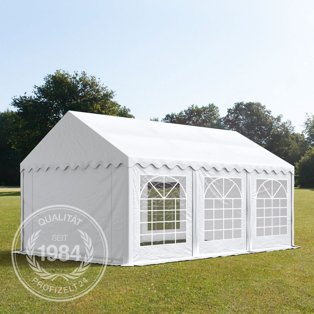 partyzelt 4x6 m pavillon festzelt gartenzelt 500g m pvc plane in wei ebay. Black Bedroom Furniture Sets. Home Design Ideas
